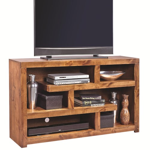 Morris Home Furnishings Alder Woods 60 Inch Open Console with Geometric Shelving