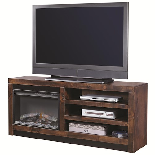 Morris Home Furnishings Contemporary Alder 65 Inch Fireplace Console with 2 Shelves