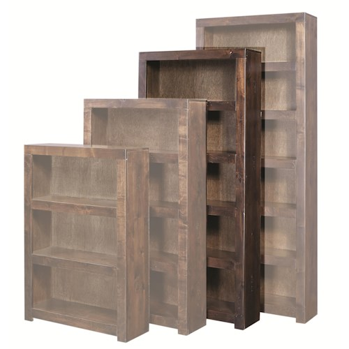 Morris Home Furnishings Contemporary Alder 72 Inch Bookcase with 4 Shelves