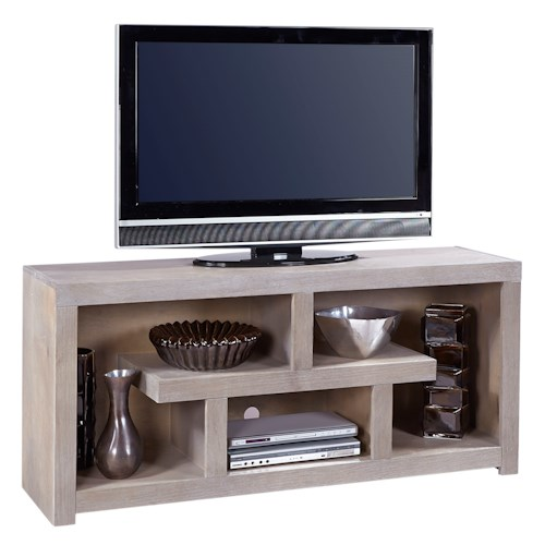Aspenhome Contemporary Driftwood 60 Inch Console with Geometric Design