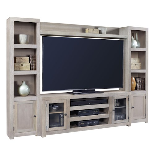 Aspenhome Contemporary Driftwood Entertainment Wall with 4 Doors and Open Shelving