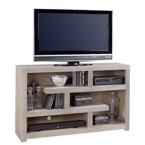 Aspenhome Contemporary Driftwood 60 Inch Open Console with Geometric Shelving