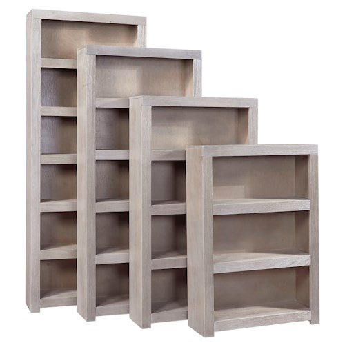 Aspenhome Contemporary Driftwood 72 Inch Bookcase with 4 Shelves