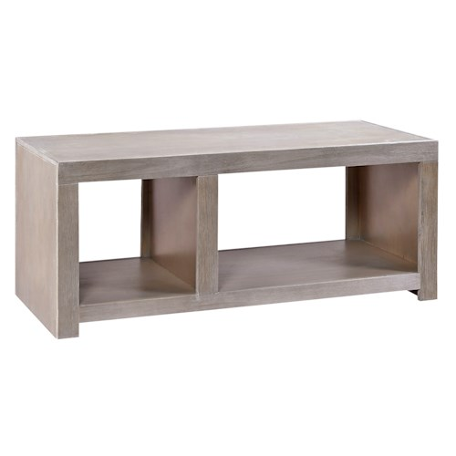 Morris Home Furnishings Contemporary Driftwood Cocktail Table with 2 Open Compartments