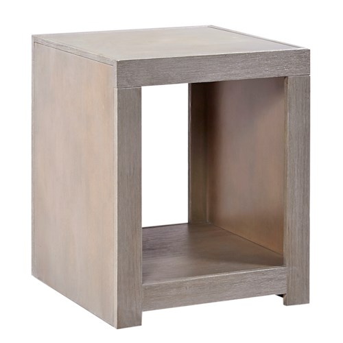 Aspenhome Contemporary Driftwood End Table with Open Compartment