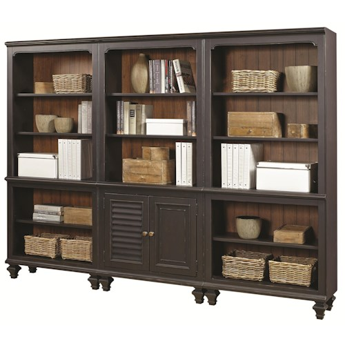 Aspenhome Ravenwood Bookcase Combination with 2 Open Bookcases and 1 Bookcase with Reversible Door Panels