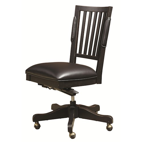 Morris Home Furnishings Mount Carmel Office Chair with Leather Seat and Five-Star Base
