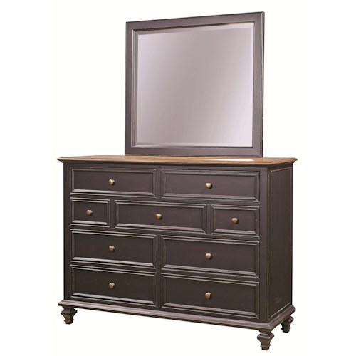 Aspenhome Ravenwood 7 Drawer Chesser with Square-Shaped Mirror