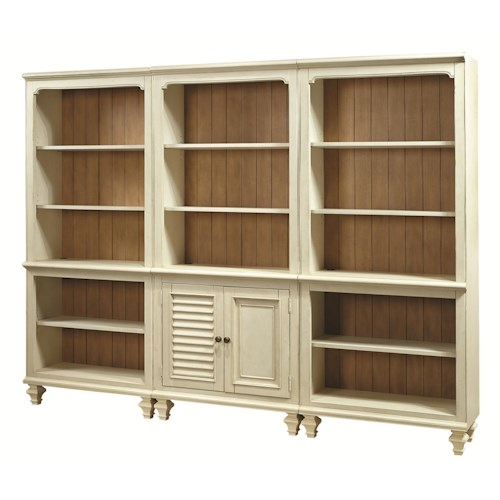 Aspenhome Cottonwood Bookcase Combination with 2 Open Bookcases and 1 Bookcase with Reversible Door Panels