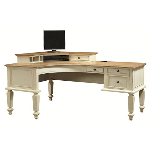 Aspenhome Cottonwood Curved Half Pedestal L-Shaped Desk and Corner Hutch with 1 Drawer