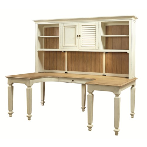 Aspenhome Cottonwood U-Shaped Desk and Hutch with 3 Shelves and Reversible Door Panels