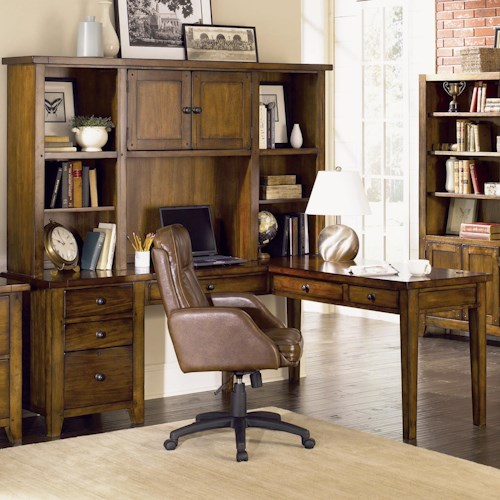 Morris Home Furnishings Cross Country L-Shaped Desk & Hutch