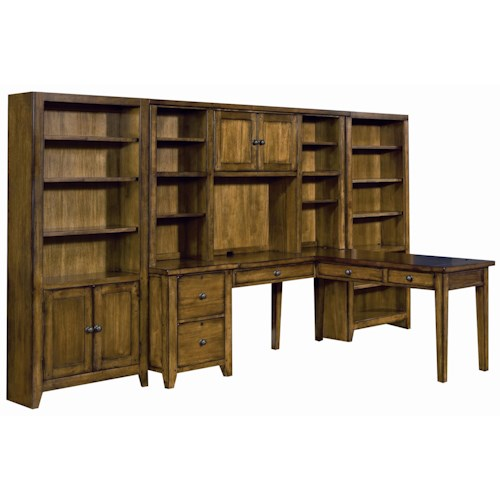Aspenhome Cross Country L Shape Desk Wall Unit