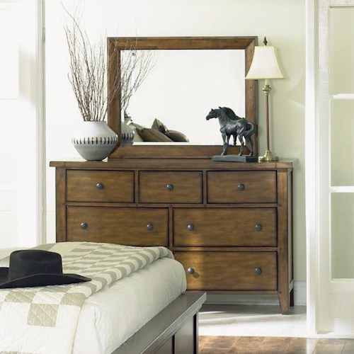 Aspenhome Cross Country Drawer Dresser and Landscape Mirror