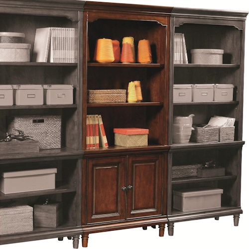 Morris Home Furnishings Ironton Door Bookcase with 2 Doors and 3 Adjustable Shelves