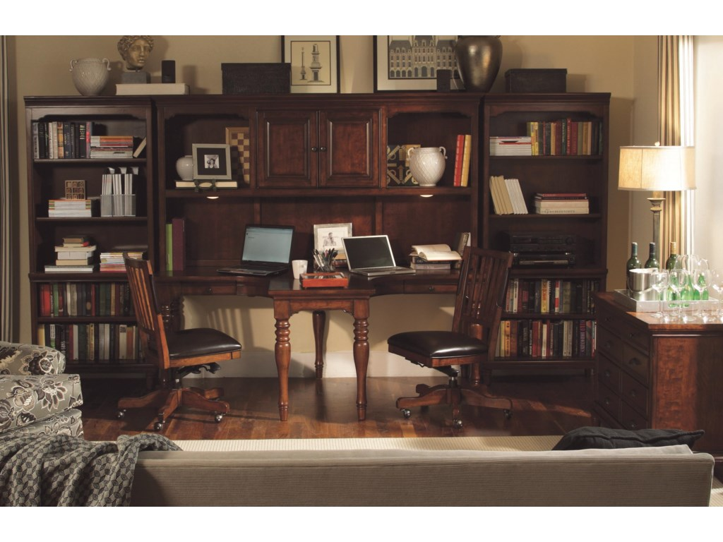 Shown with Dual T Desk and Hutch, Combo File, and Open Bookcases