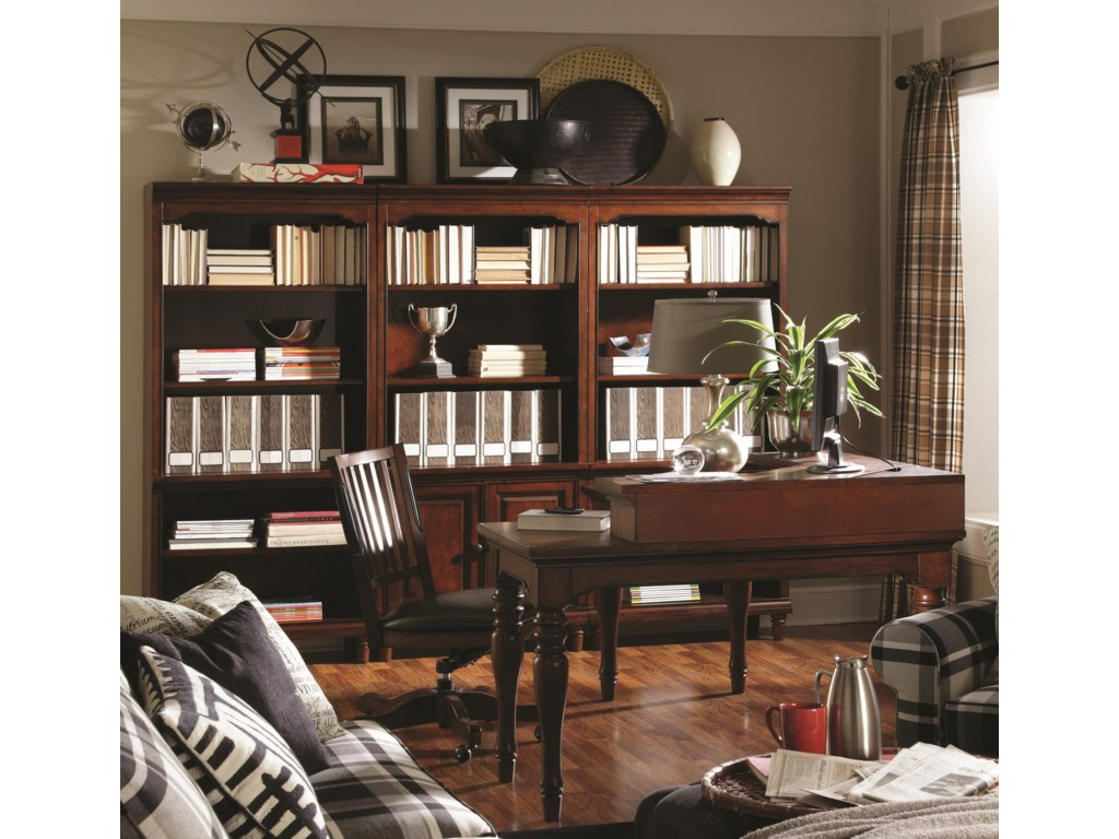 Shown with Corner Hutch, Office Chair, Open Bookcases, and Door Bookcase