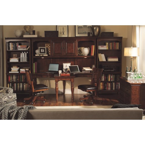 Aspenhome Villager 4 Piece Dual T Desk and Dual T Desk Hutch and 2 Open Bookcases