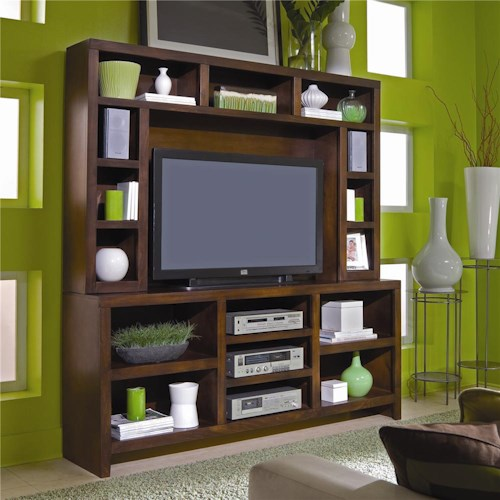 Aspenhome Essentials Lifestyle 73 Inch Console & Hutch Wall Unit