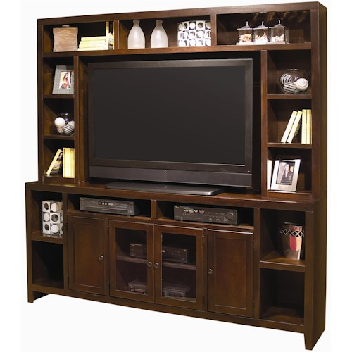 Morris Home Furnishings Essentials Lifestyle Entertainment Wall with 84-Inch Console & Hutch