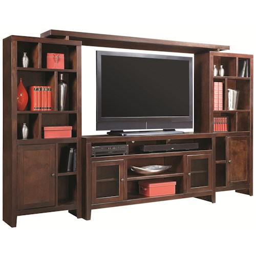 Morris Home Furnishings Essentials Lifestyle 120 Inch Entertainment Wall Unit with 4 Doors