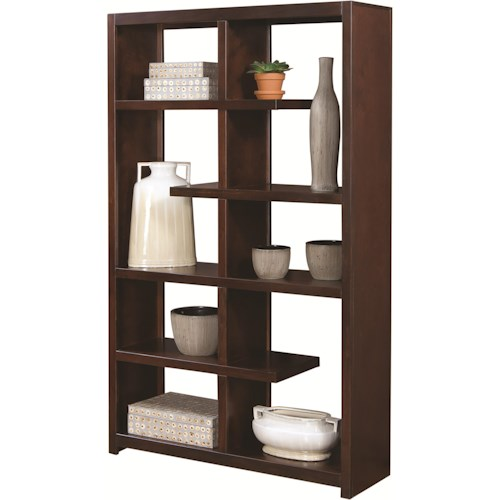 Aspenhome Essentials Lifestyle Modern Double-Sided Open Display Case with a Variety of Shelving Options