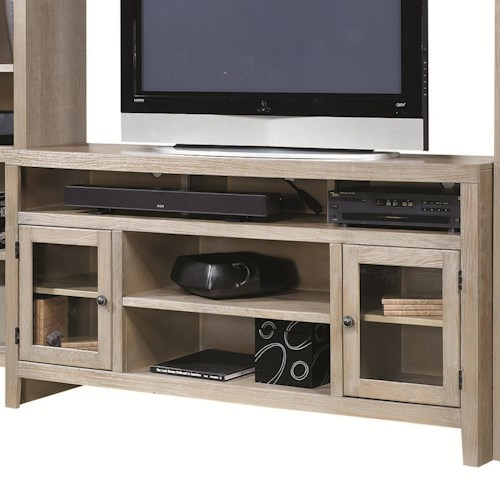 Aspenhome Essentials Wirebrush Entertainment Console with 2 Glass Doors