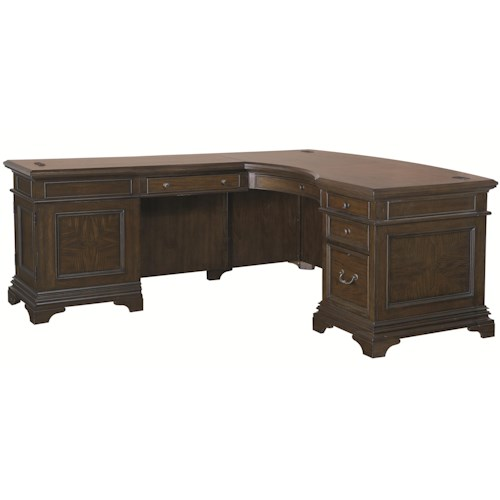 Morris Home Furnishings Essex Desk and Reversible Return with 5 Drawers