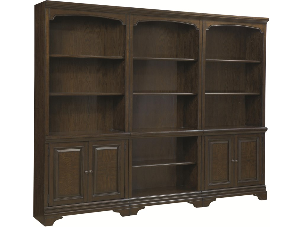 Open Bookcase (Center) Shown with Two Two-Door Bookcases