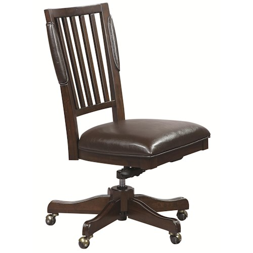 Morris Home Furnishings Essex Office Chair with Leather Seat