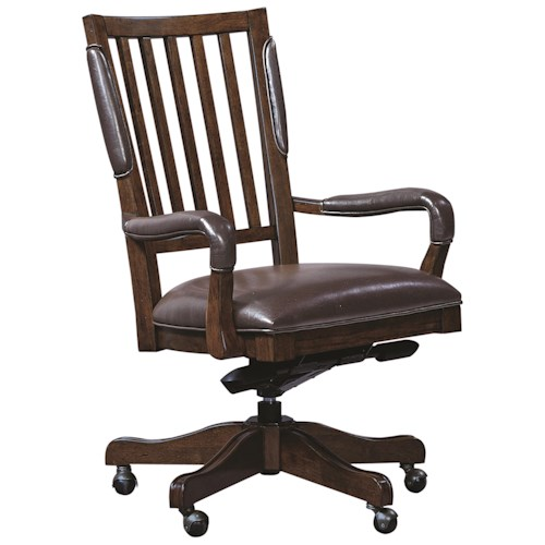 Morris Home Furnishings Essex Office Arm Chair with Leather Seat