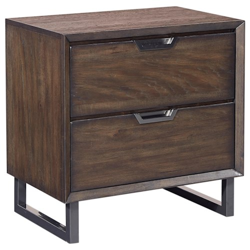 Aspenhome Harper Point 2 Drawer Contemporary Nightstand with USB Port and AC Outlets