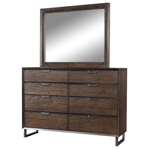 Aspenhome Harper Point Contemporary 8 Drawer Chesser and Mirror with Drop-Front Drawer