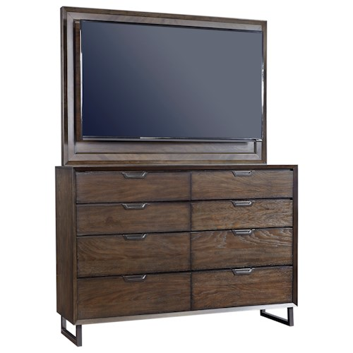 Aspenhome Harper Point Contemporary 8 Drawer Chesser and TV Frame with Felt-Lined Top Drawers