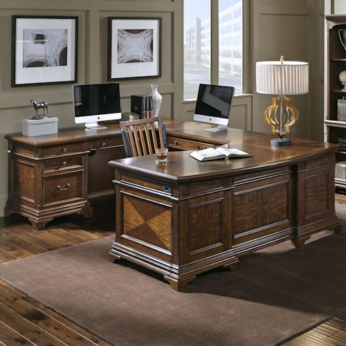 Aspenhome Hawthorne Left Facing Executive U Desk with 9 Drawers