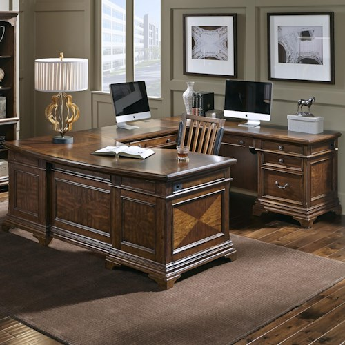 Morris Home Furnishings Hawthorne Right Facing Executive U Desk with 9 Drawers