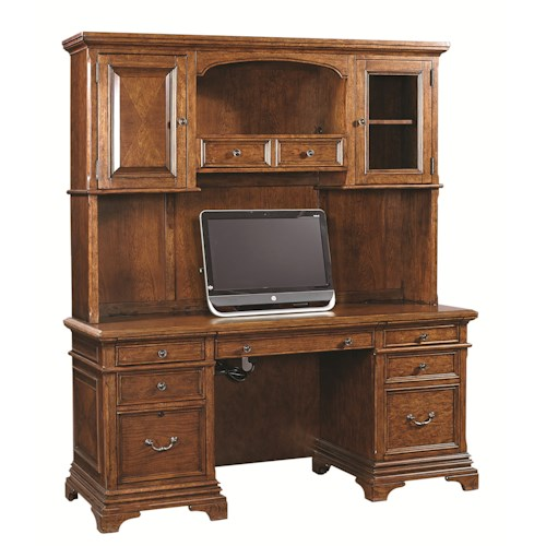 Aspenhome Hawthorne 74-Inch Credenza Desk and Hutch with 3 Adjustable Shelves and 5 Drawers