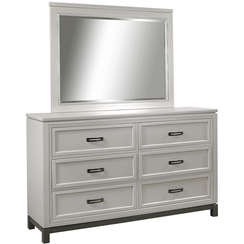 Aspenhome Hyde Park 6 Dovetail Drawer Dresser and Mirror