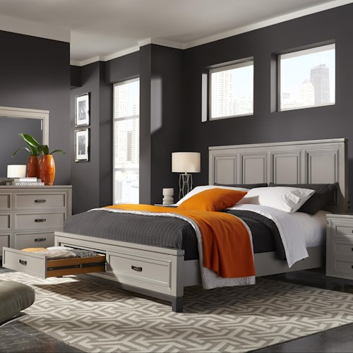 Aspenhome Hyde Park Queen Painted Panel Bed with Storage