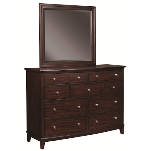 Morris Home Furnishings Lincoln Park Mirror and Nine Drawer Chesser Combo