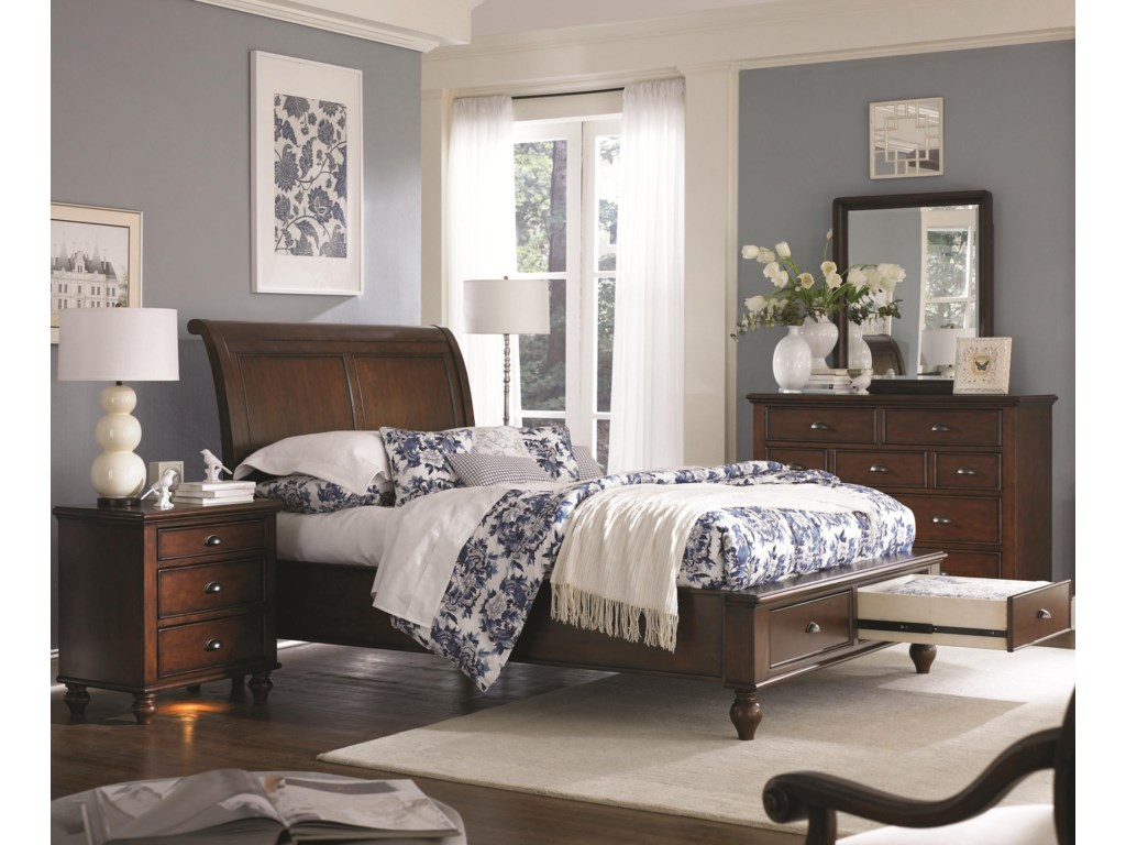 Drawer Storage in the Footboard Adds Organization Space to Smaller Scale Bedrooms - Bed Shown May Not Represent Size Indicated