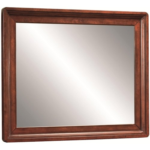 Aspenhome Madison Landscape Mirror with Simple Molding Accents on Wood Frame