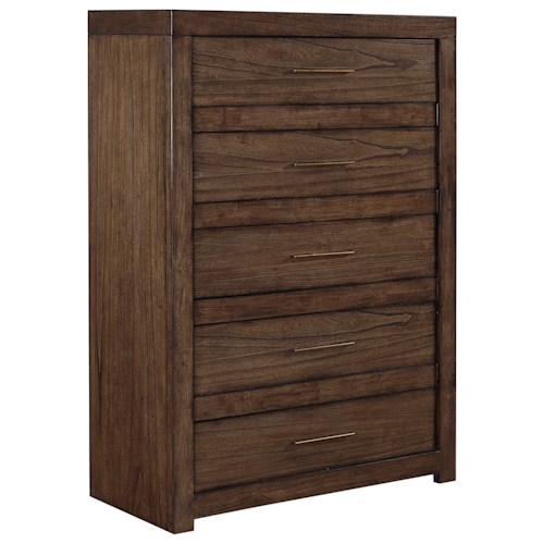 Aspenhome Modern Loft 5 Drawer Chest with Felt-Lined Top Drawer