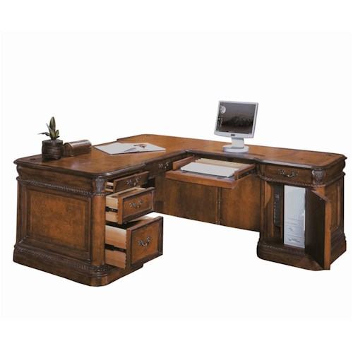 Aspenhome Napa  Traditional L-Shape Desk & Return with Ash Burl and Rope Moulding Details