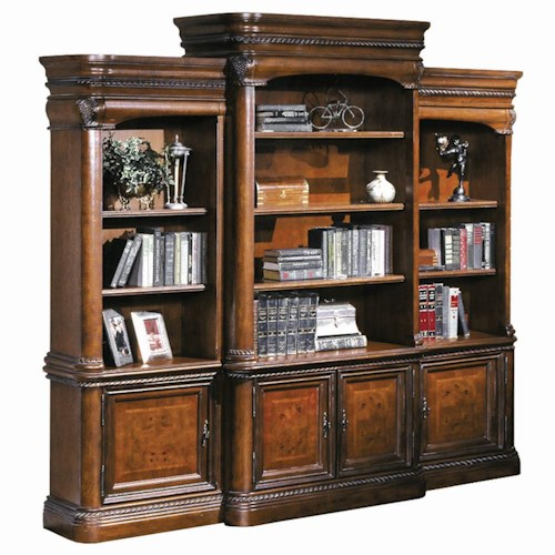 Aspenhome Napa  Breakfront Bookcase Combination Wall Unit with Three-Way Touch Lighting