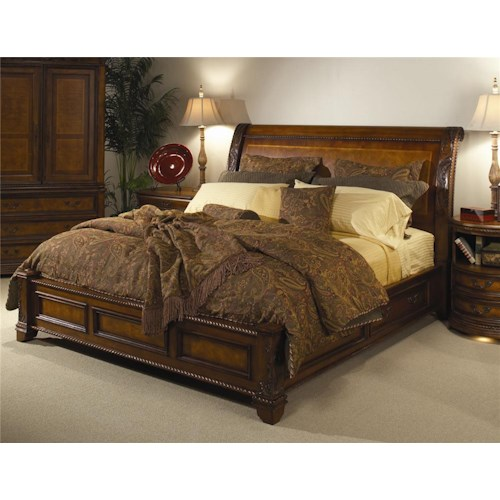 Aspenhome Napa  King-Size Bed with Sleigh Headboard & Storage Base