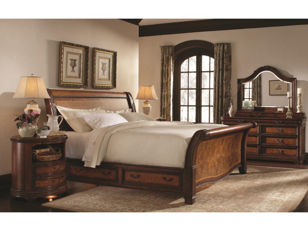 Aspenhome Napa King Size Bed with Sleigh Headboard amp Storage Base