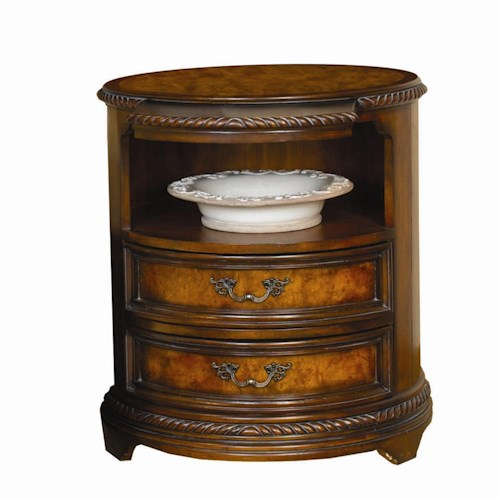 Aspenhome Napa  Round Nightstand with 2 Drawers, 1 Shelf and Built-In Touch Light