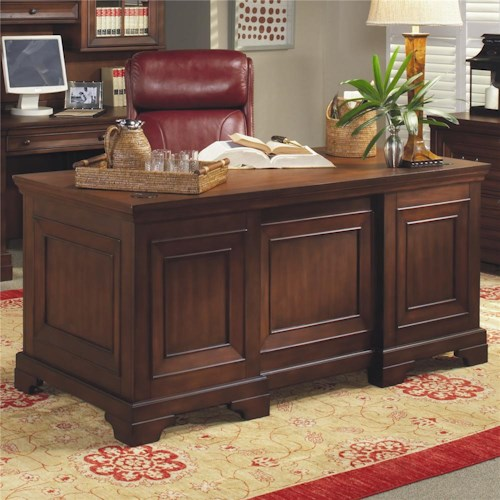 Morris Home Furnishings Richmond 66 Inch Double Pedestal Executive Desk
