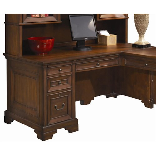Aspenhome Richmond 66 Inch Single Pedestal Computer Desk For A Return